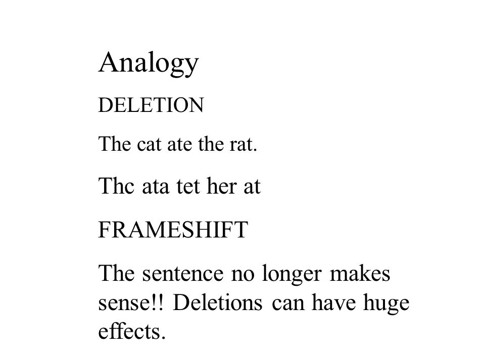 Analogy DELETION The cat ate the rat.