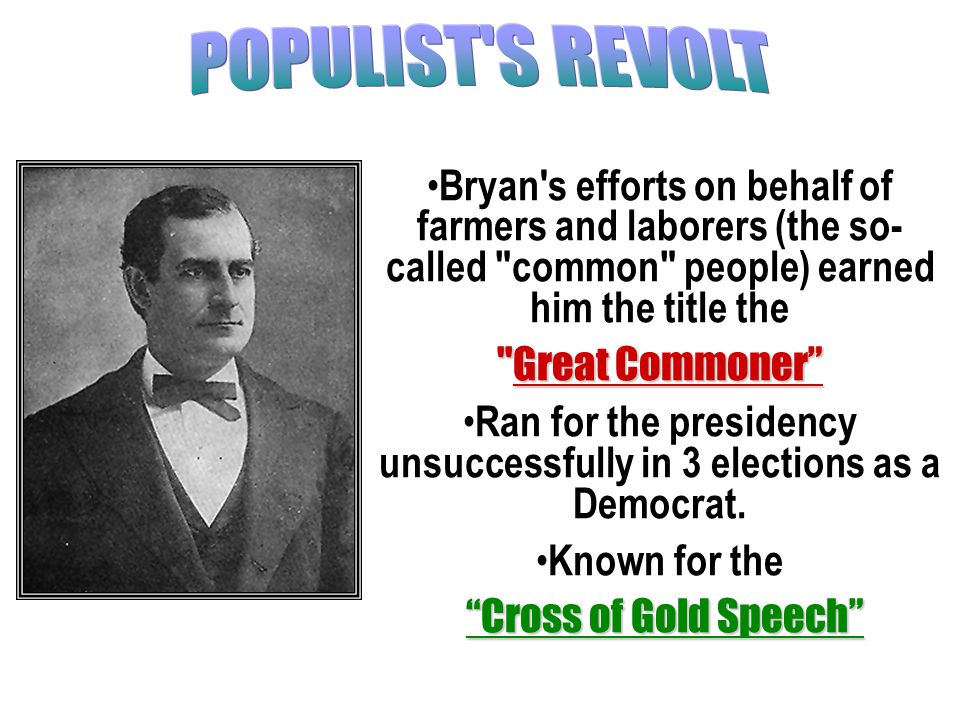 1860 to 1925 William Jennings Bryan was a gifted speaker, lawyer, three- time presidential candidate, and devout Protestant. Bryan made his career in