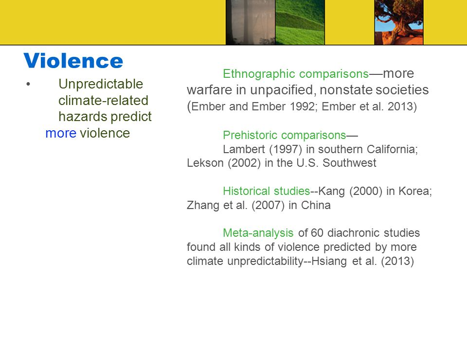 Violence Ethnographic comparisons —more warfare in unpacified, nonstate societies ( Ember and Ember 1992; Ember et al.