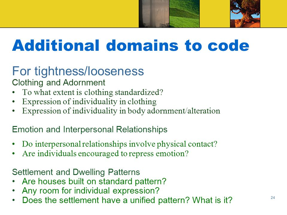 Additional domains to code For tightness/looseness Clothing and Adornment To what extent is clothing standardized.