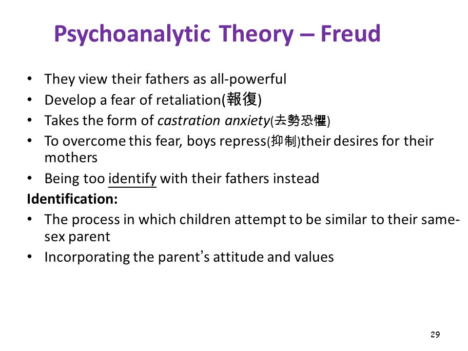 29 Psychoanalytic Theory – Freud They view their fathers as all-powerful Develop a fear of retaliation( 報復 ) Takes the form of castration anxiety ( 去勢恐懼 ) To overcome this fear, boys repress ( 抑制 ) their desires for their mothers Being too identify with their fathers instead Identification: The process in which children attempt to be similar to their same- sex parent Incorporating the parent ' s attitude and values