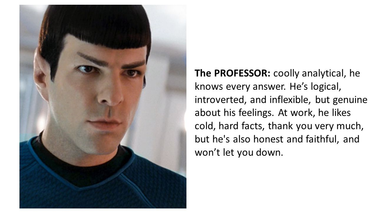 The PROFESSOR: coolly analytical, he knows every answer.