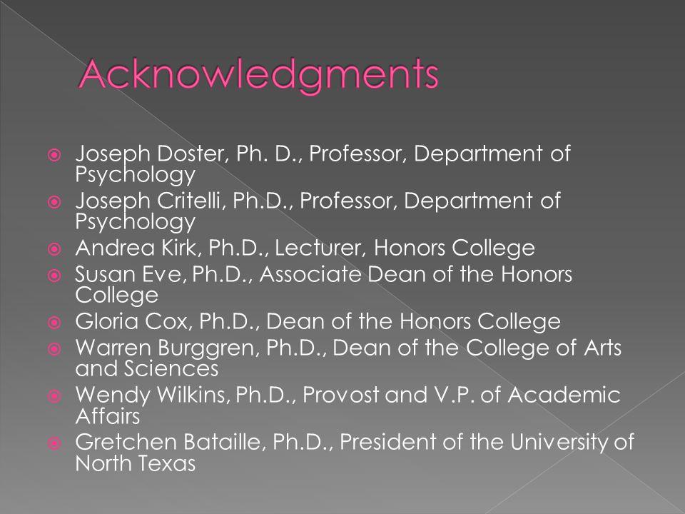  Joseph Doster, Ph. D., Professor, Department of Psychology  Joseph Critelli, Ph.D., Professor, Department of Psychology  Andrea Kirk, Ph.D., Lectu