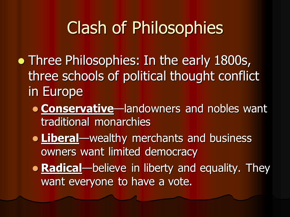 Clash of Philosophies Three Philosophies: In the early 1800s, three schools of political thought conflict in Europe Three Philosophies: In the early 1