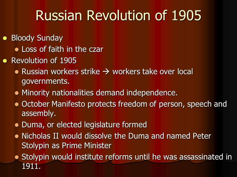 Russian Revolution of 1905 Bloody Sunday Bloody Sunday Loss of faith in the czar Loss of faith in the czar Revolution of 1905 Revolution of 1905 Russi