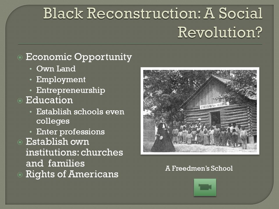  Economic Opportunity Own Land Employment Entrepreneurship  Education Establish schools even colleges Enter professions  Establish own institutions: churches and families  Rights of Americans A Freedmen's School