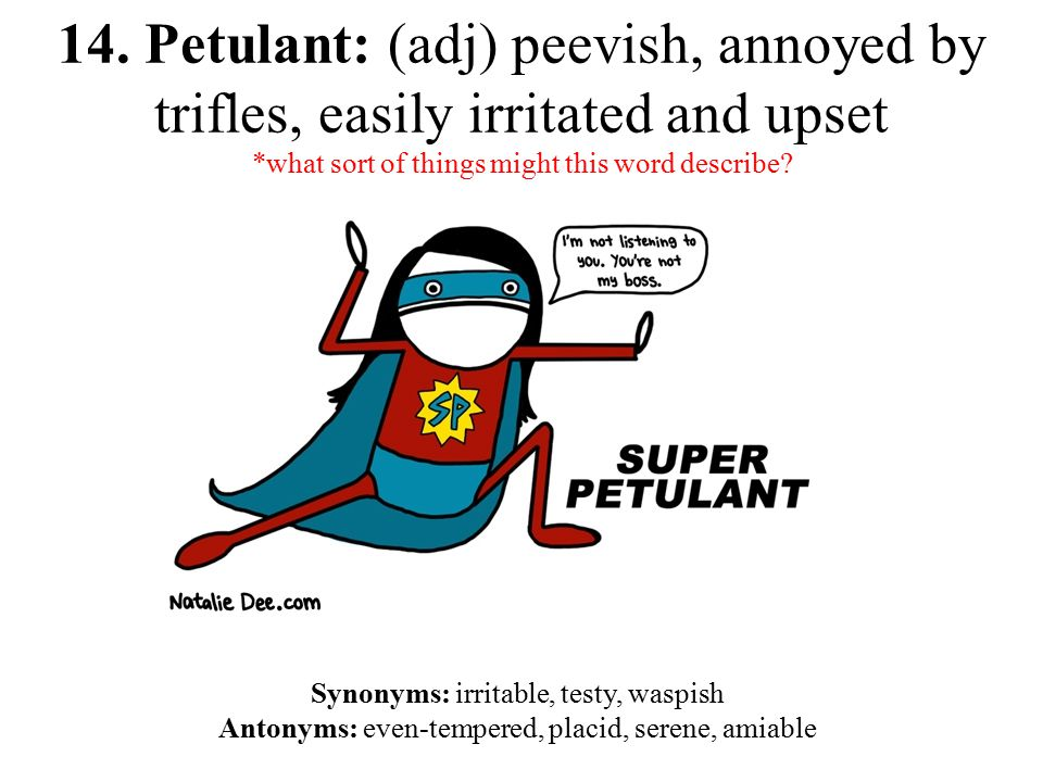 14. Petulant: (adj) peevish, annoyed by trifles, easily irritated and upset *what sort of things might this word describe? Synonyms: irritable, testy,