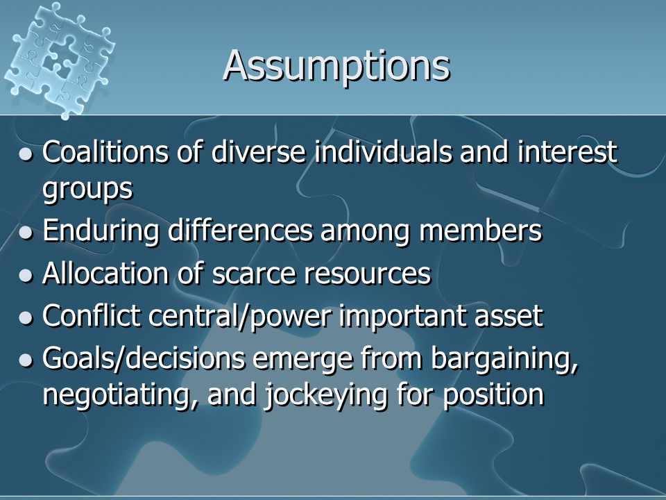 The Political Frame… … takes a pluralistic approach because decisions are negotiated between subgroups & factions.