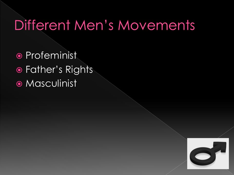  A Profeminist refers to a male feminist  Believes men and women are alike in most ways  supports women's battle for equal treatment in society