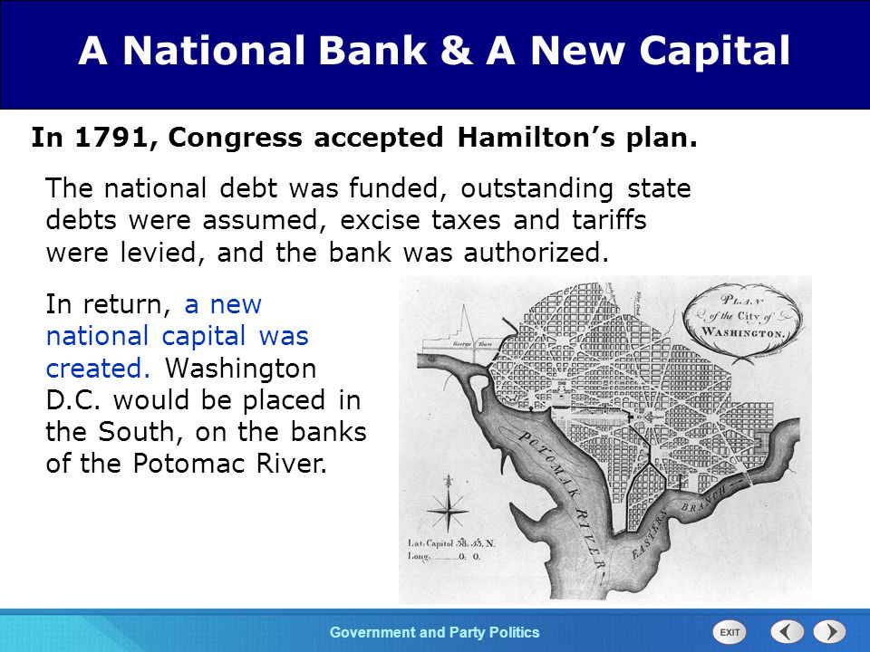 Chapter 25 Section 1 The Cold War Begins Section 1 Government and Party Politics In 1791, Congress accepted Hamilton's plan.
