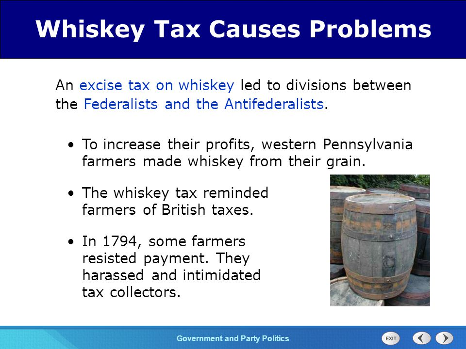 Chapter 25 Section 1 The Cold War Begins Section 1 Government and Party Politics An excise tax on whiskey led to divisions between the Federalists and the Antifederalists.