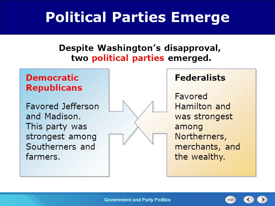 Chapter 25 Section 1 The Cold War Begins Section 1 Government and Party Politics Despite Washington's disapproval, two political parties emerged.