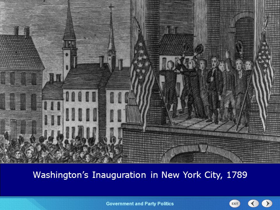 Chapter 25 Section 1 The Cold War Begins Section 1 Government and Party Politics Washington's Inauguration in New York City, 1789