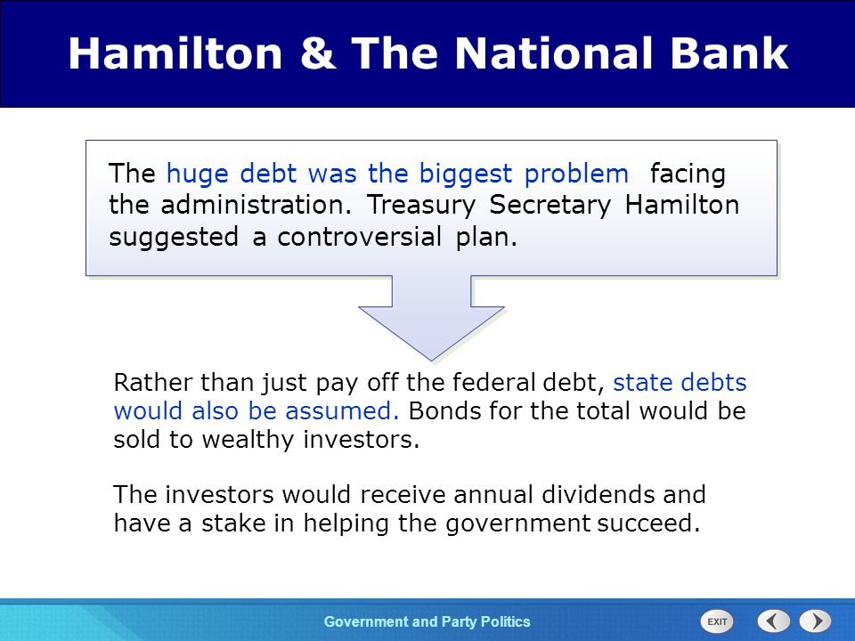 Chapter 25 Section 1 The Cold War Begins Section 1 Government and Party Politics Hamilton also proposed chartering a Bank of the United States to regulate state banks and insure business support.