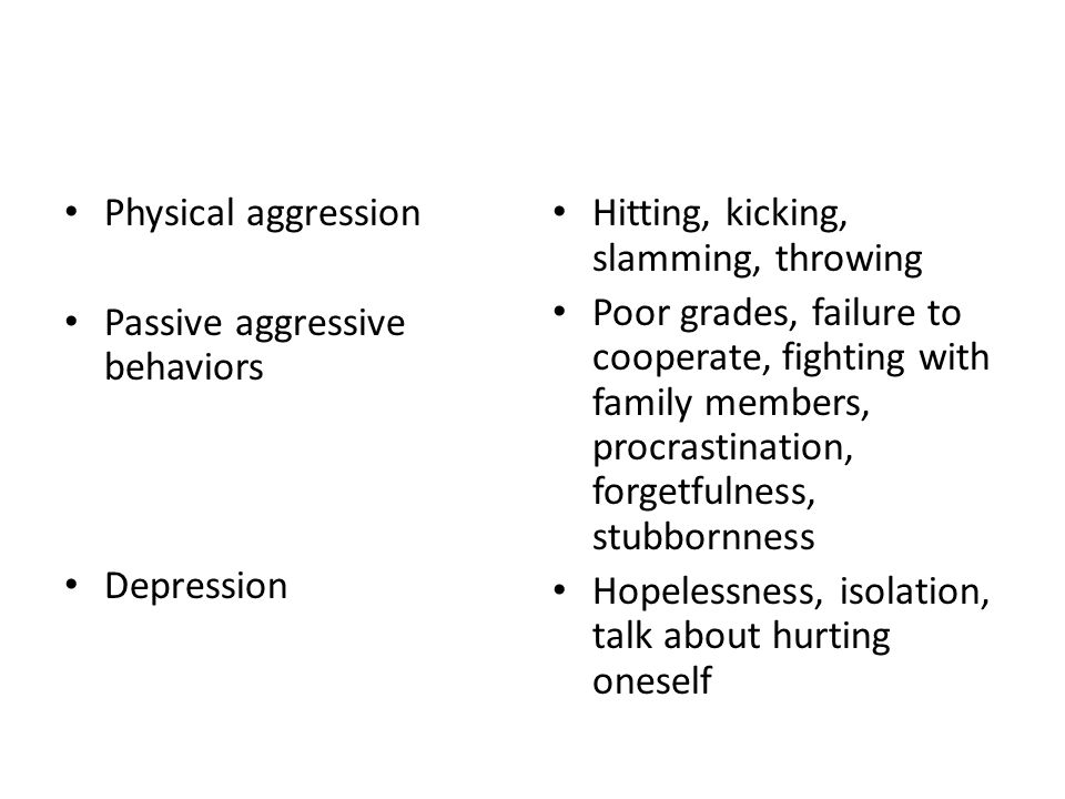 Physical aggression Passive aggressive behaviors Depression Hitting, kicking, slamming, throwing Poor grades, failure to cooperate, fighting with family members, procrastination, forgetfulness, stubbornness Hopelessness, isolation, talk about hurting oneself