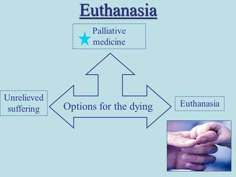 Euthanasia Options for the dying Unrelieved suffering Euthanasia Palliative medicine