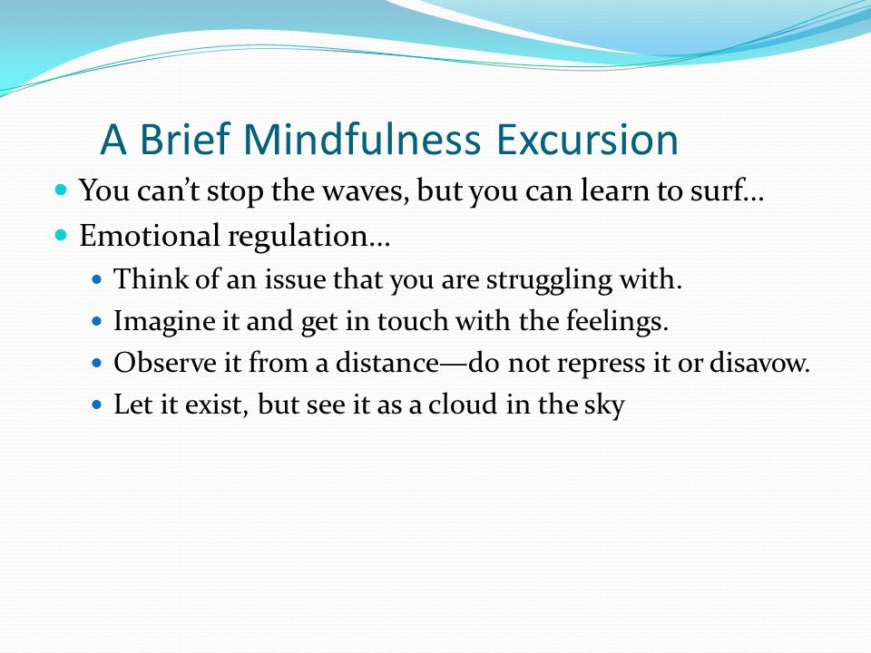 A Brief Mindfulness Excursion You can't stop the waves, but you can learn to surf… Emotional regulation… Think of an issue that you are struggling with.