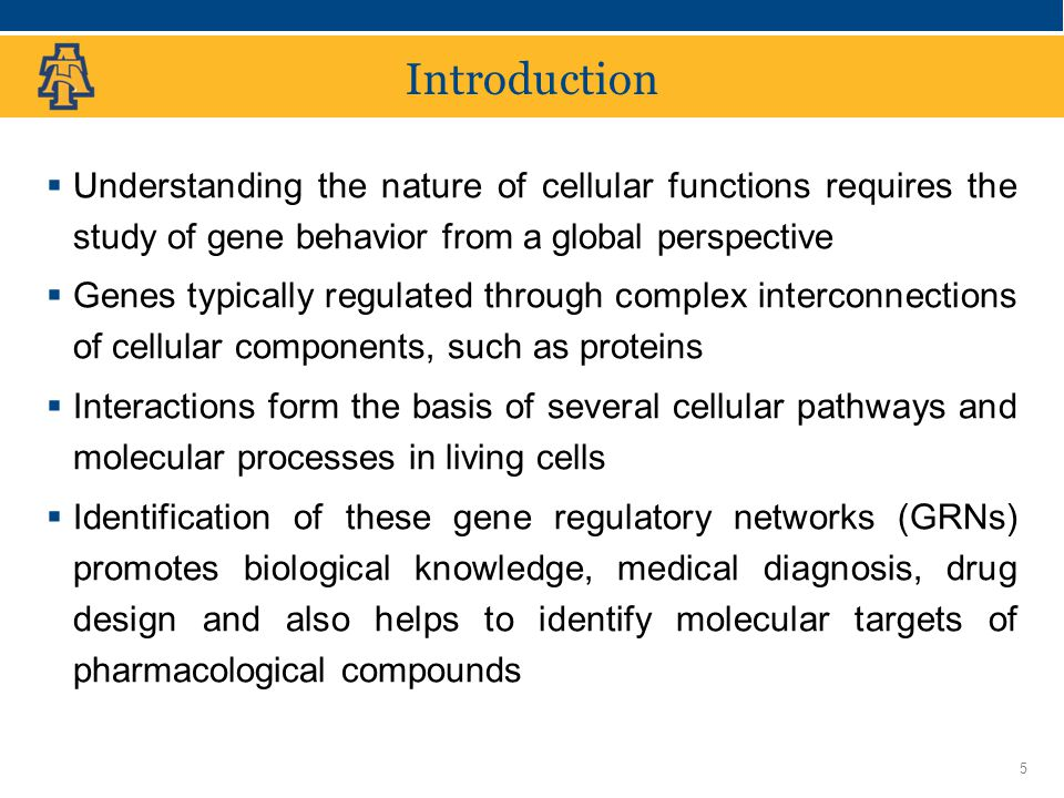 North Carolina Agricultural and Technical State University Introduction  Understanding the nature of cellular functions requires the study of gene behavior from a global perspective  Genes typically regulated through complex interconnections of cellular components, such as proteins  Interactions form the basis of several cellular pathways and molecular processes in living cells  Identification of these gene regulatory networks (GRNs) promotes biological knowledge, medical diagnosis, drug design and also helps to identify molecular targets of pharmacological compounds 5