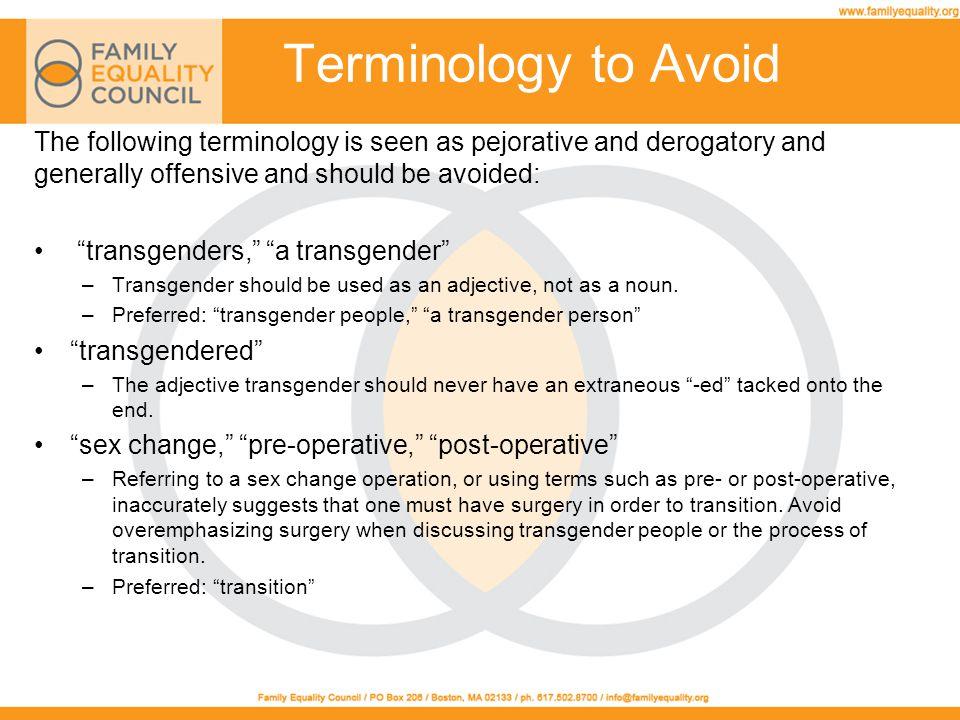 Terminology to Avoid homosexual (n.