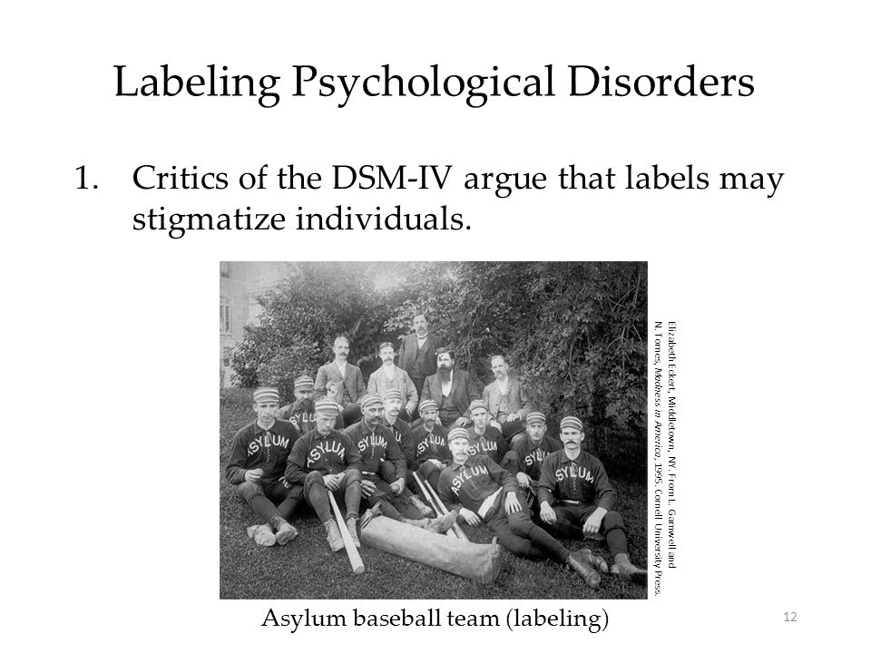 12 Labeling Psychological Disorders 1.Critics of the DSM-IV argue that labels may stigmatize individuals.