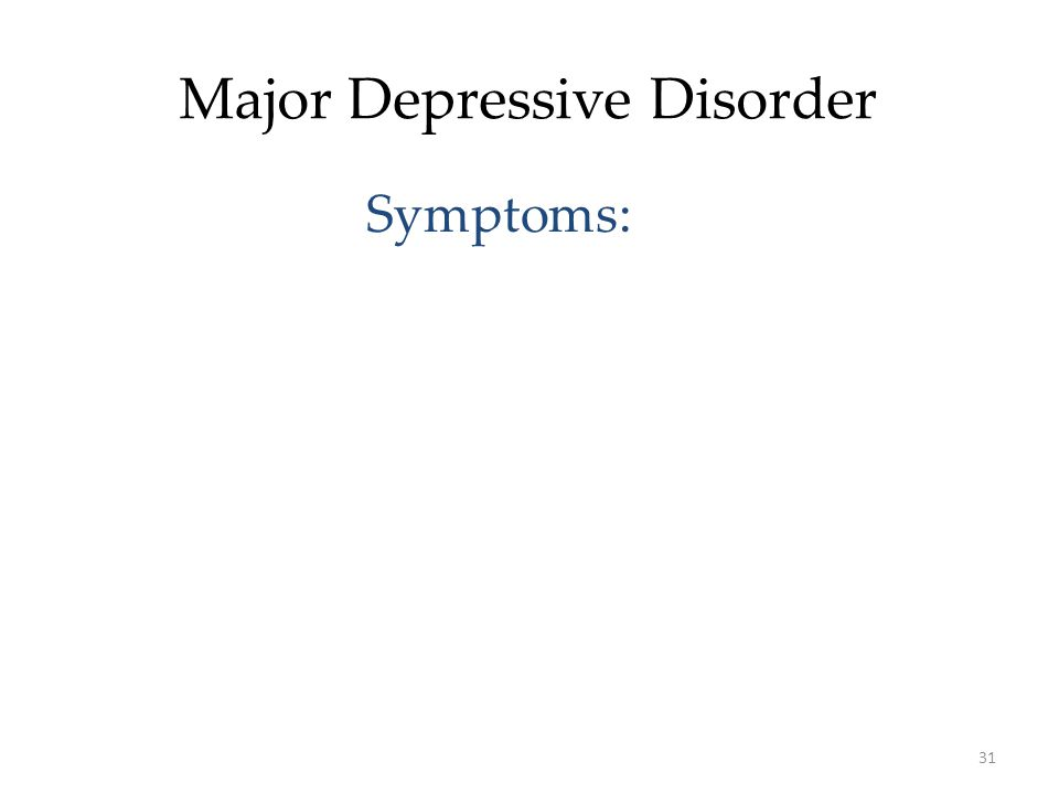 31 Major Depressive Disorder Symptoms: