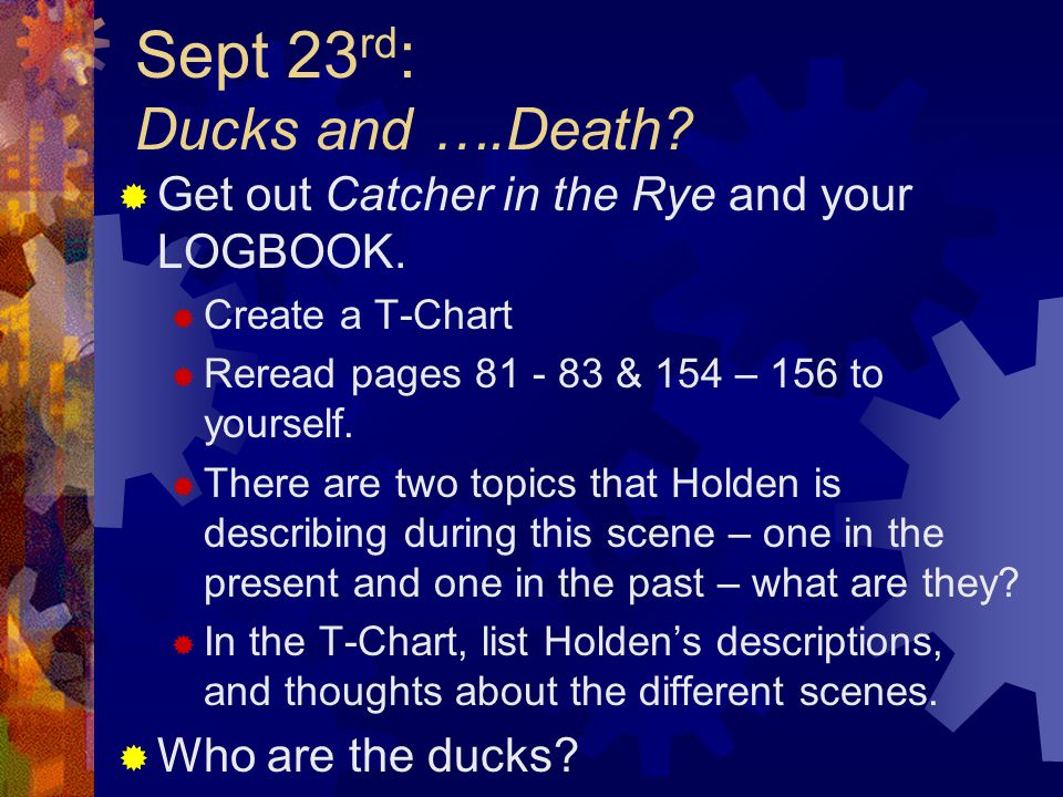Sept 23 rd : Ducks and ….Death. Get out Catcher in the Rye and your LOGBOOK.