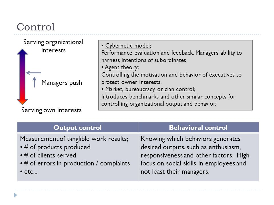 Control Serving organizational interests Serving own interests Managers push Output controlBehavioral control Measurement of tanglible work results; # of products produced # of clients served # of errors in production / complaints etc...