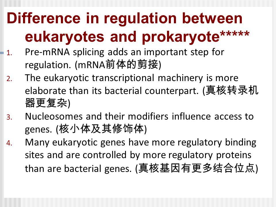 Difference in regulation between eukaryotes and prokaryote***** 1.