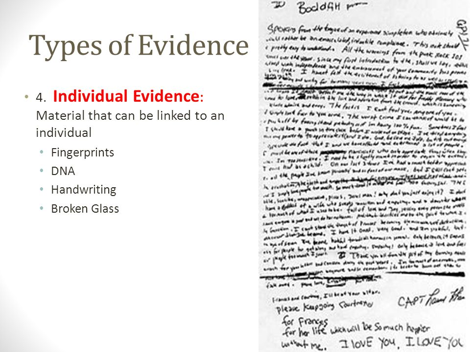 Types of Evidence 4. Individual Evidence : Material that can be linked to an individual Fingerprints DNA Handwriting Broken Glass