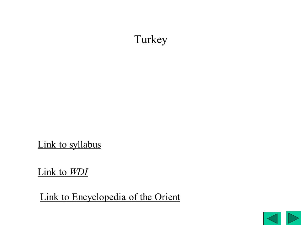 Turkey Link to syllabus Link to WDI Link to Encyclopedia of the Orient