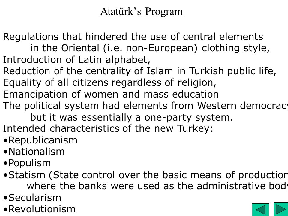 Atatürk's Program Regulations that hindered the use of central elements in the Oriental (i.e. non-European) clothing style, Introduction of Latin alph