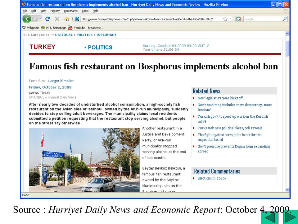 Alcohol ban Source : Hurriyet Daily News and Economic Report: October 4, 2009.