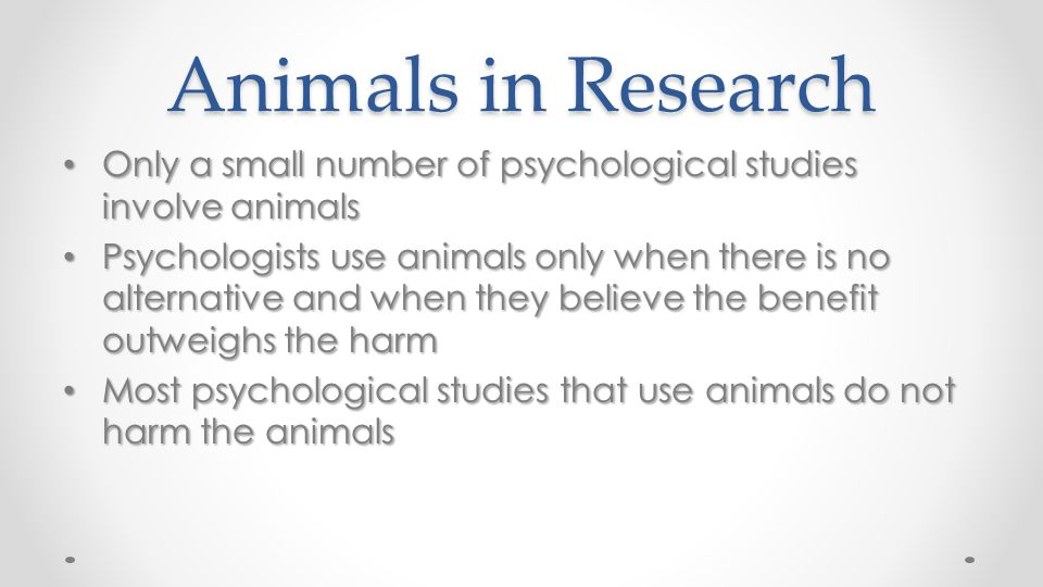 Animals in Research Only a small number of psychological studies involve animals Only a small number of psychological studies involve animals Psycholo