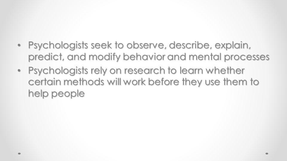 Goals of Psychology