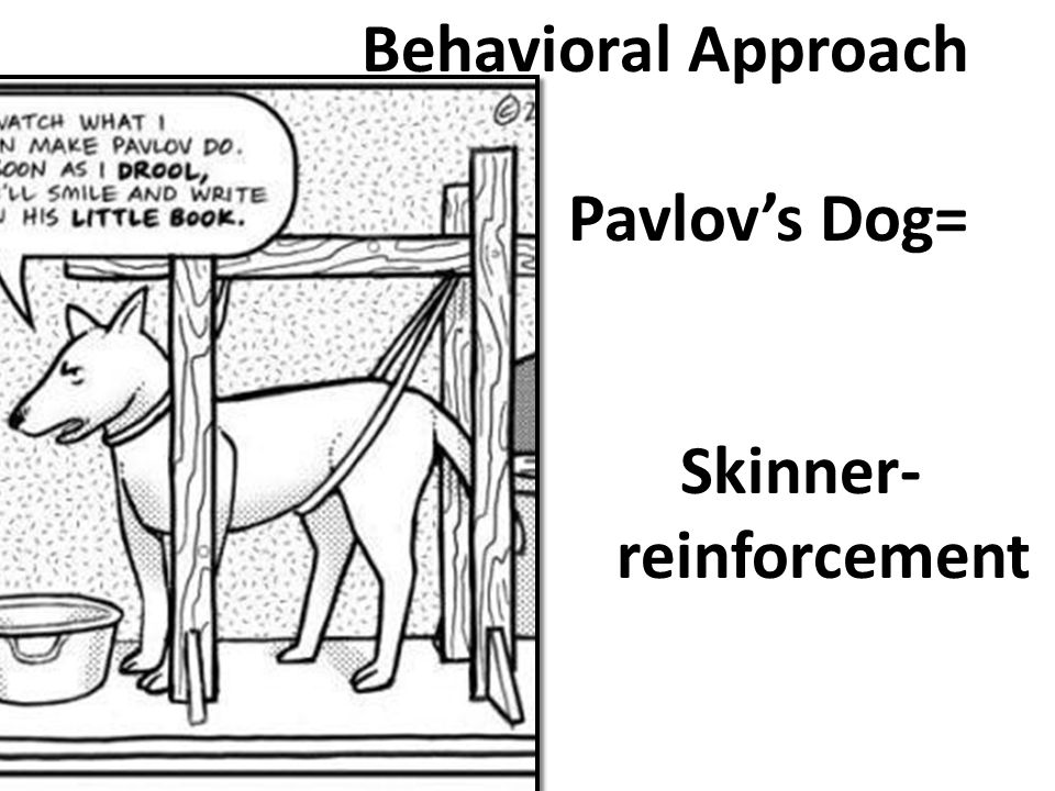 Behavioral Approach Early Behaviorism – view that psychology should 1) be an objective science 2) study behavior without reference to mental processes