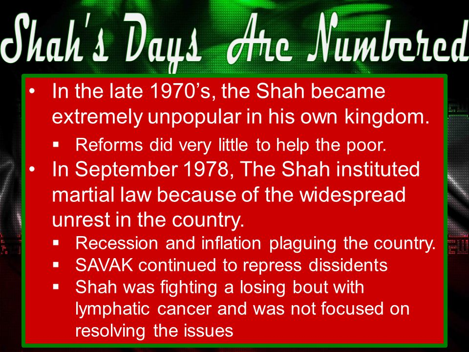 The Shah had a number of clerics arrested, while a number of them fled including the Ayatollah Khomeini.