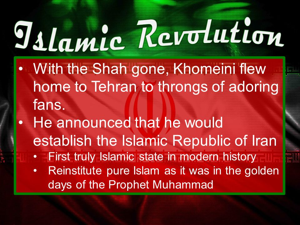 Ayatollah Khomeini (in exile) seized the moment to convince Iranians that all the nation's ill could be traced to sources  The Shah's secular practic