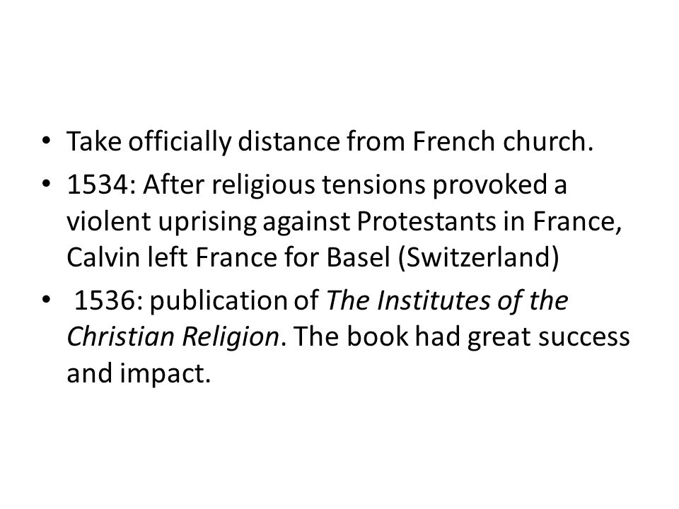Take officially distance from French church.