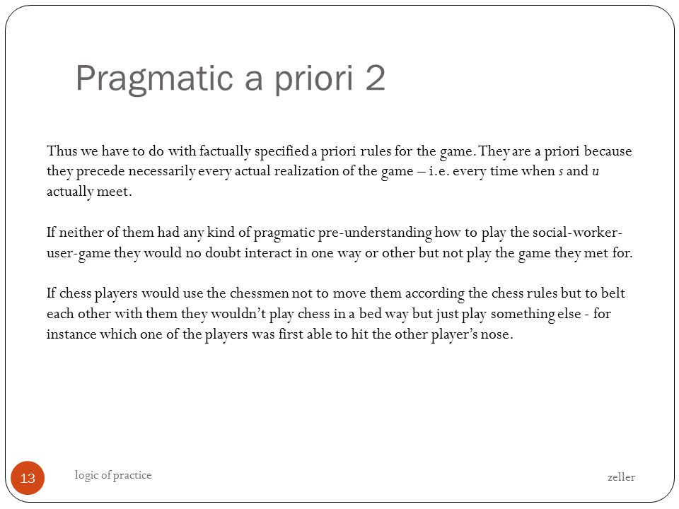 Pragmatic a priori 2 zeller logic of practice 13 Thus we have to do with factually specified a priori rules for the game.