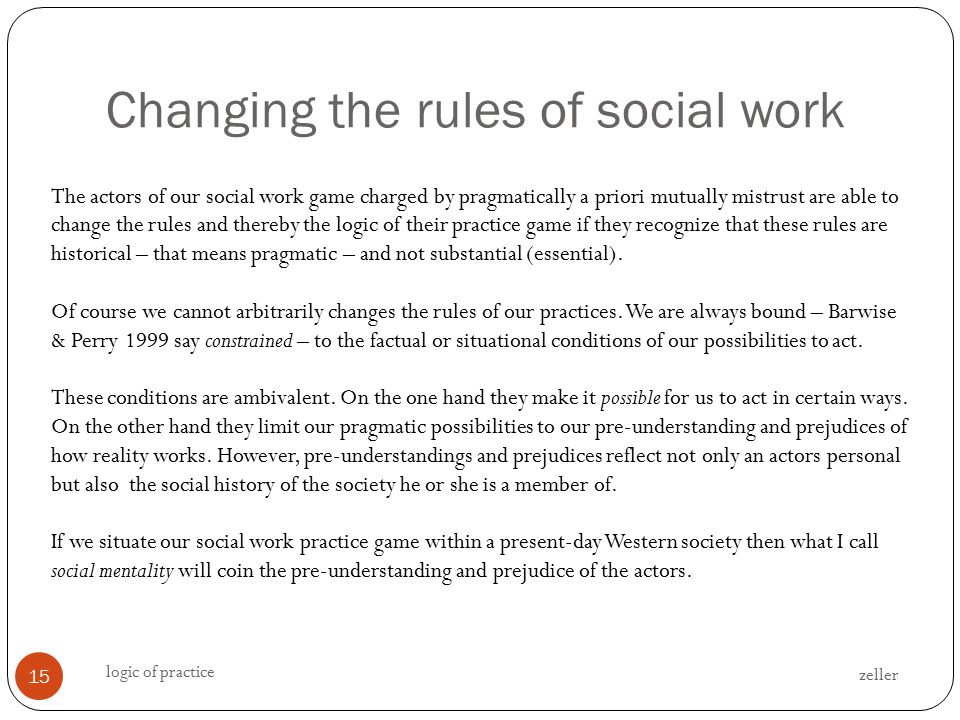 Changing the rules of social work zeller logic of practice 15 The actors of our social work game charged by pragmatically a priori mutually mistrust are able to change the rules and thereby the logic of their practice game if they recognize that these rules are historical – that means pragmatic – and not substantial (essential).