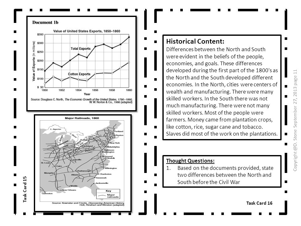 Historical Content: Differences between the North and South were evident in the beliefs of the people, economies, and goals. These differences develop