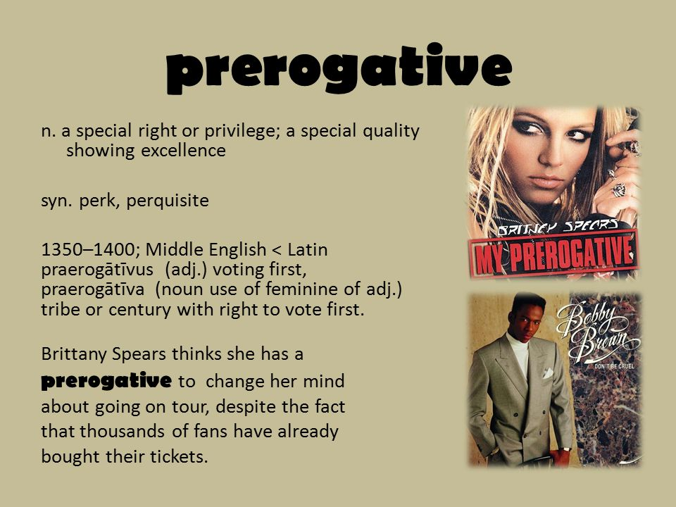 prerogative n. a special right or privilege; a special quality showing excellence syn.