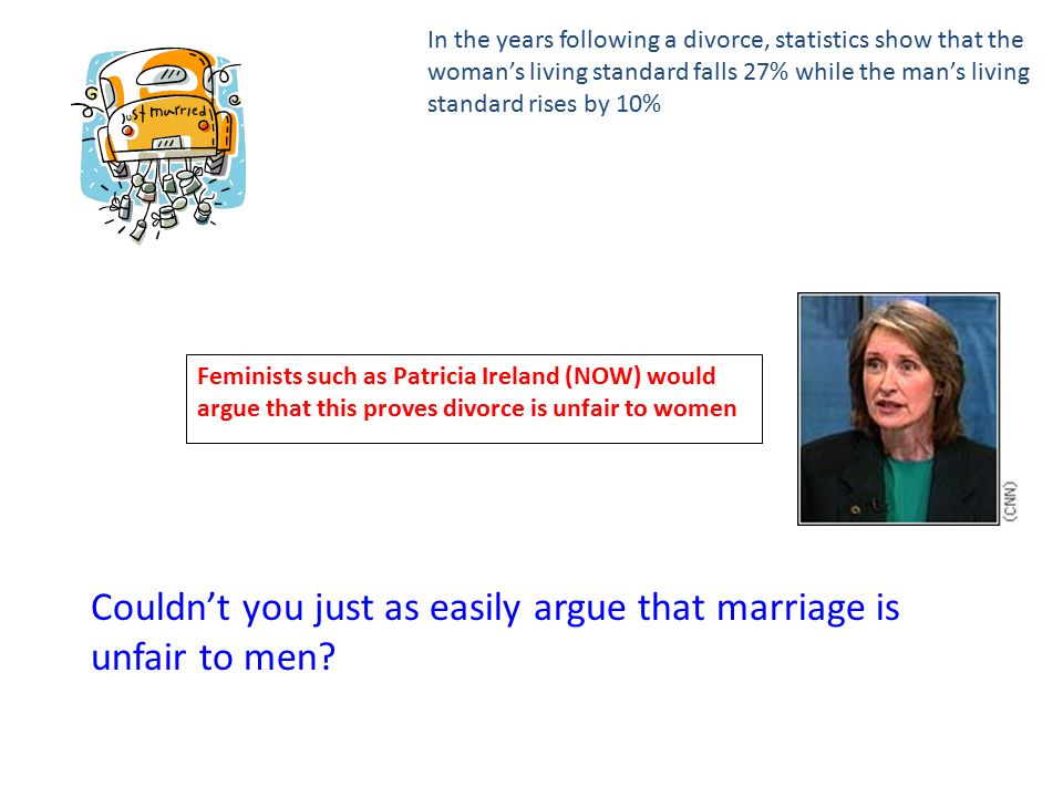 In the years following a divorce, statistics show that the woman's living standard falls 27% while the man's living standard rises by 10% Feminists such as Patricia Ireland (NOW) would argue that this proves divorce is unfair to women Couldn't you just as easily argue that marriage is unfair to men
