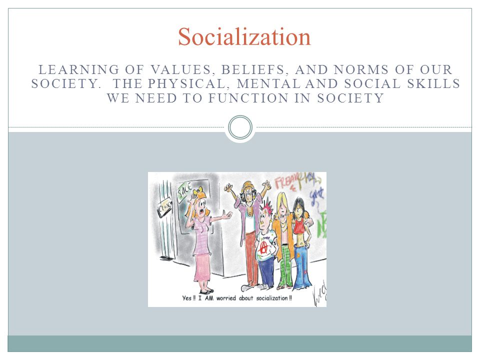 Functionalist Perspective Stresses how socialization contributes to a stable society (Sharing common values) Groups work together to create a stable society through socialization Schools and families Network programming?