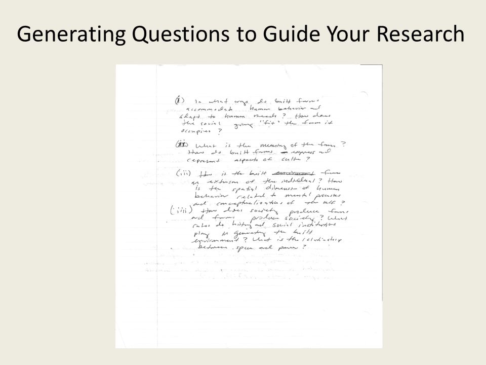 Generating Questions to Guide Your Research