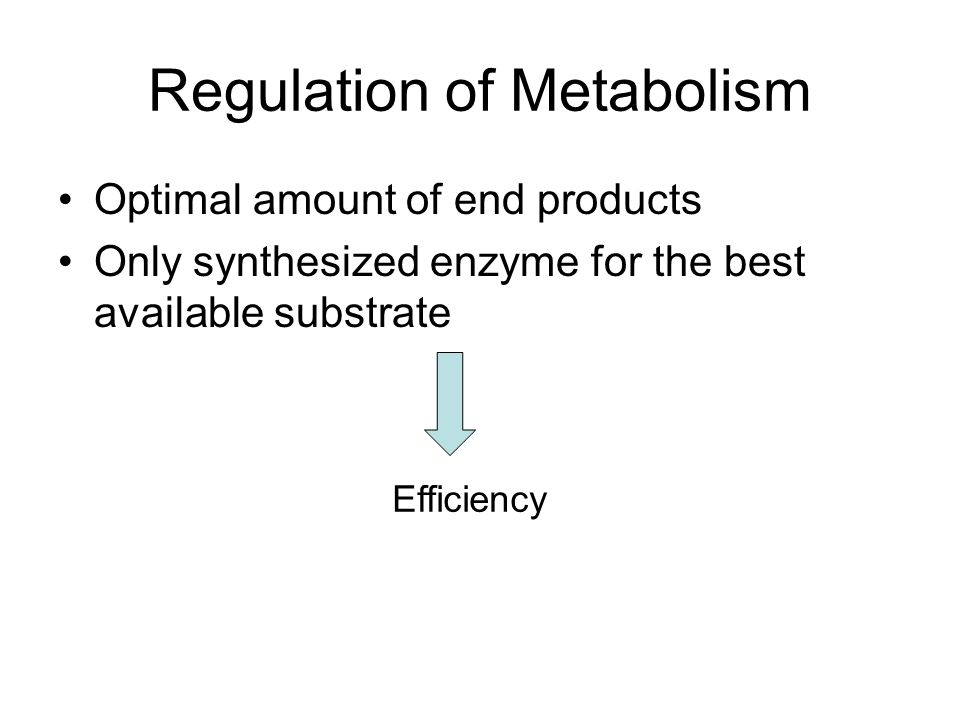 Regulation of Metabolism Optimal amount of end products Only synthesized enzyme for the best available substrate Efficiency