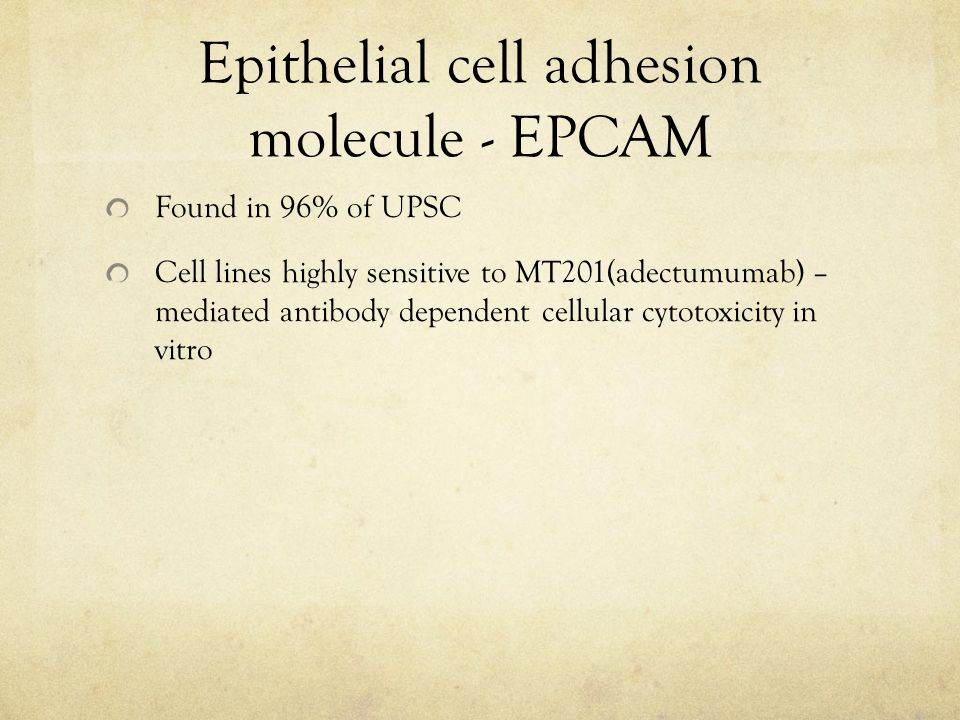 Epithelial cell adhesion molecule - EPCAM Found in 96% of UPSC Cell lines highly sensitive to MT201(adectumumab) – mediated antibody dependent cellular cytotoxicity in vitro