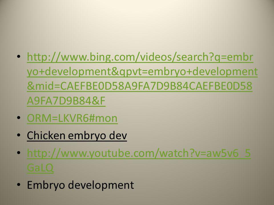 http://www.bing.com/videos/search?q=embr yo+development&qpvt=embryo+development &mid=CAEFBE0D58A9FA7D9B84CAEFBE0D58 A9FA7D9B84&F http://www.bing.com/videos/search?q=embr yo+development&qpvt=embryo+development &mid=CAEFBE0D58A9FA7D9B84CAEFBE0D58 A9FA7D9B84&F ORM=LKVR6#mon Chicken embryo dev http://www.youtube.com/watch?v=aw5v6_5 GaLQ http://www.youtube.com/watch?v=aw5v6_5 GaLQ Embryo development