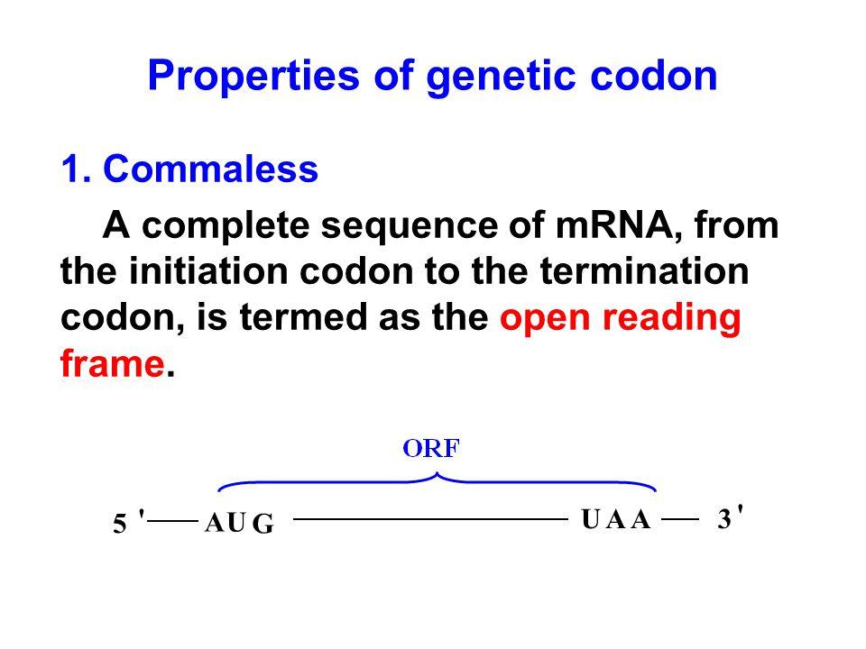Properties of genetic codon 1.