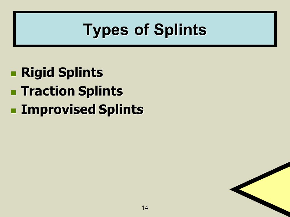 14 Types of Splints Rigid Splints Rigid Splints Traction Splints Traction Splints Improvised Splints Improvised Splints